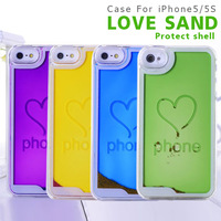 Crystal Clear Sand love shape hard back case cover pouch For Apple iPhone 5 5g 5s +free screen protector