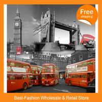 Free shipping 50pcs/lot ,Big Ben,London Bridge,Orange Bus Polyester Shower curtain 180x200cm bath curtain waterproof curtain