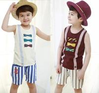 Children's clothes summer Kids Boy sets Childrens Sleeveless Vest + striped pants suits 2pcs Boys casual set