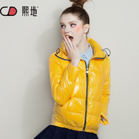Winter women's 2013 fashion bright color woolen patchwork short design thickening down coat