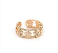 Brand open women ring.Wholesale 18 KGP rose gold & Rhinestone & Black/White roses & Average size opening ring.Free shipping+gift