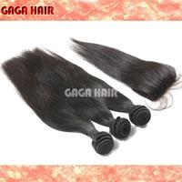 Peruvian Virgin Human Hair 4 pcs / Lot , Silk Base Closure With 3 Bundles Hair Weft Extension  Brazilian Virgin Hair Straight