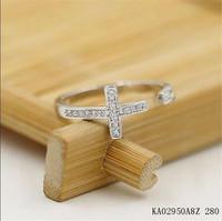 Brand open women's ring.Wholesale 18 KGP (white) rose gold & rhinestone & cross & average size opening ring.Free shipping +gift.