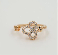 Brand open women's ring.18 KGP (white) rose gold & full drill & beautiful flowers & average size opening ring.Free shipping+gift