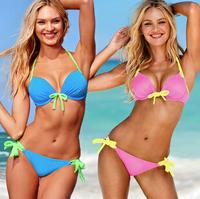 Free shipping new 2014 Bikini Women Sexy Swimsuit Ladies' Swimwear Set Beachwear Strap Halter Bra set swimwear women gift