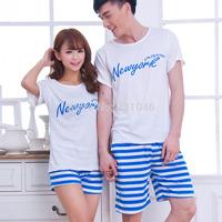 free shipping Summer beach lovers men women Pure cotton short-sleeve casual sleepwear couples lounge set Beach suit