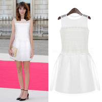 2014 summer exquisite fashion organza spaghetti strap one-piece dress mid waist zipper step skirt sweet