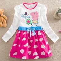 Free shipping,5pcs/lots peppa pig dress baby flower girl dress New 2014 spring fashion Casual girls long sleeve dress kids dress