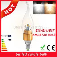 10X FREE SHIPPING High power 5730 6W Led candle Bulb E14 E12 E27 85-265V LED chandelier led light lamp spotlight