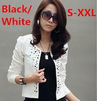 S-XXL(Black+White)Free Shipping 2014 New Hot Selling Rivet fashion OL suit drilling hot little jacket short coat Women 140612#2