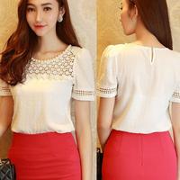 New 2014 spring summer blouses o-neck women chiffon blouse plus size Solid Fashion lace backing shirt free shipping size S-XXL
