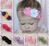 Pearl rhinestone core decorated 3 chiffon flowers+tiny baby elastic headband.Free shipping mix 20pcs jewelry infant kid headwear