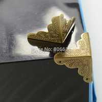 Free Shipping 30 Pcs Bronze Tone Carving Luggage Decorative Protectors Corner 25x25mm(W03686 X 1)