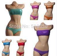 Free Shipping Hot Sale 2014 New Women Sexy Fashion Sequins Halter Fluorescent Bikini Swimwear Swimsuit Bathing Beach Wear