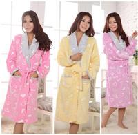 Free Shipping Long Pyjamas Warm Bathrobe Robe Bathrobe Nightdress Sleepwear Nightgown Pajamas for Women Winter 3 Colors A0221