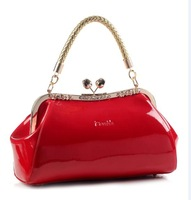 2014  popular sweet rose clip  women's japanned leather handbag