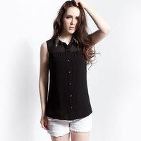 Chiffon shirt women personalized formal ol sleeveless shirt top short-sleeve