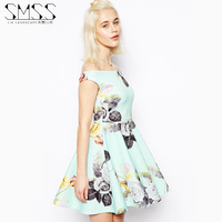SMSS 2014 new European and American sexy strapless neck Camaleon lovely color flower print dress