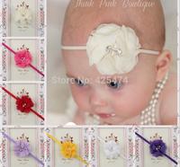 Chiffon pearl rhinestone core decorated flower baby headband.Free shipping 20pcs mix 5cm kid jewelry summer floral headwear.