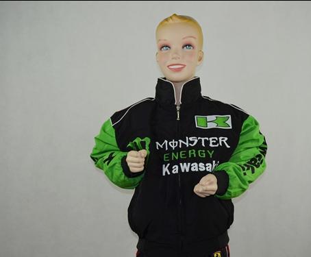 F1 KAWASAKI roupas raça de automóvel raça de automóvel carro criança de algodão acolchoado jaqueta outerwear jaqueta cheia bordado rjc078w(China (Mainland))