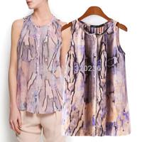 Free shipping  2014 Hot Sale  Girls'  O-neck Fashion Snake Pattern Sleeveless Blouse ladies Womens  blouse