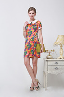 2014 Summer Fashion Silk Dress Printed Beaded Short-sleeved  Size L - XXXL 6088- Free Shipping