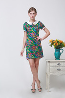 2014 Summer New Fashion Silk Dress Printed Beaded Short-sleeved  Size L - XXXL 6088- Free Shipping
