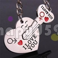 54pcs alloy heart english i love you word key keychain car key ring couple lover key chain advertising wedding gift keychains