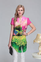 2014 New Hot Ladies Pastoral Wind Print Long-sleeved Silk Blouse L- XXXL 6098- Free Shipping