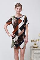 2014 Women Dress New Stitching Leopard Color Slim Silk Dress With Belt Size L - XXXL 6086- Free Shipping