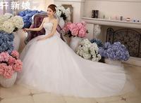 D15 vestido de noiva 2014  fashionable sexy lace train large bow sequins wedding dress  bridal ball gowns  customize