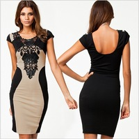 Stylish Sexy Womens Sleeveless Lace Neck Dress Cocktail Party Dress
