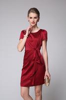 2014 Summer New Women's European Leg of Upscale Fashion Beaded Silk Dress Slim Size L - XXXL 6081- Free Shipping