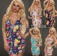 Summer Dress Bandage nightclub Sexy Sleeveless Bodycon Kim kardashian Floral Printed  Dress Vestidos blusas femininas inverno