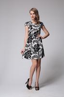 2014 New Women European and American High-end Printed Silk Dress Size L - XXXL 6073- Free Shipping