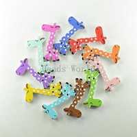 Free Shipping 60 Pcs Random Mixed Giraffe 2 Holes Wood Sewing Buttons Scrapbooking 40x25mm Knopf Bouton(W03718 X 1)