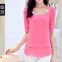 2014 summer new large size women's ladies short-sleeved chiffon blouse Korean Slim thin chiffon shirt women
