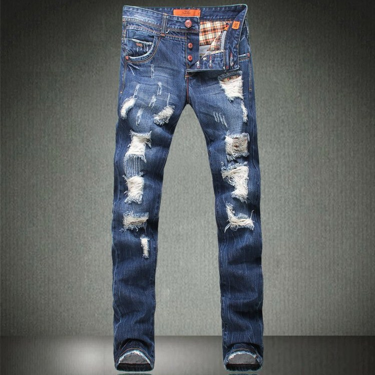 baggy designer 2014 new korean men skinny jeans fashion ripped mens destroyed jeans famous brand. Black Bedroom Furniture Sets. Home Design Ideas