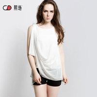 2014 sleeveless all-match medium-long basic shirt o-neck pullover women's chiffon shirt
