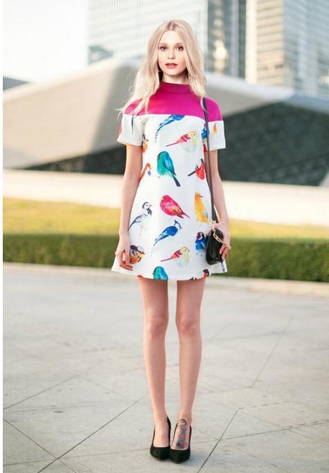 2014 fashion women urban outfitters osklen ostin vetement femme hawaiian print Bird print short sleeve dress Slim#C0598(China (Mainland))