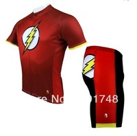 Hot sale 2014 Flash Mens Red cycling jersey and shorts Biking Shirt Rider Sportswear S-3XL Cycling Short Sleeves Clothes +shorts