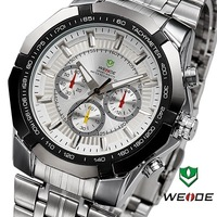 2014 New Top Sale! WEIDE Watches Men Military Quartz Sports Diver Watch Full Steel Fashion Army Wristwatch #WH1010White