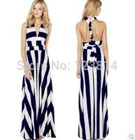 Hot Fashion Summer Autumn New 2014 Women Sexy Fashion Long Dress Blue White Strips Floor Length Backless Lacing Vestidos D406