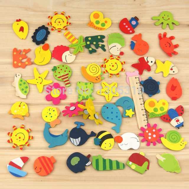 1Pack=12pcs x Fridge Magnet Mixed Cartoon Wooden Educational Toy Kitchen Creative Kid Gift Hot Selling jMx3t(China (Mainland))