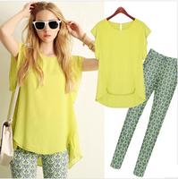 2014 pant sets womens summer casual round neck T-shirt Slim flounced chiffon print pencil pants suits women clothing set