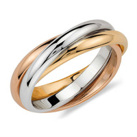 Trio Rolling Ring Womens Tri-Color Engagement Wedding Ring Silver&Gold Stainless Steel Ring Size 6,7,8,9,10,11 US