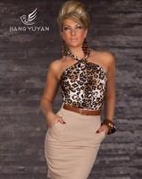 fashion back hollow out halterneck leopard sexy night club tight dress one step dress mini dress with belt