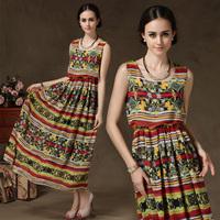 women summer new 2014 beach dress casual women sundress print dresses chiffon flower floral dress bohemian dress plus size