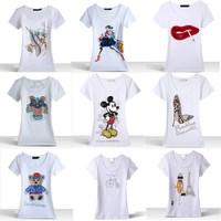 2014 NEW Beading Sunflower and Butterfly top quality summer t shirt women short sleeve cotton t-shirt 16 model plus size m-xxxl