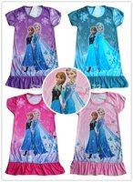 New Girls Cartoon Frozen Dress Anna Elsa Pattern Short Sleeve Princess Dress Children Kids Fashion Summer Clothing Free Drop Shi